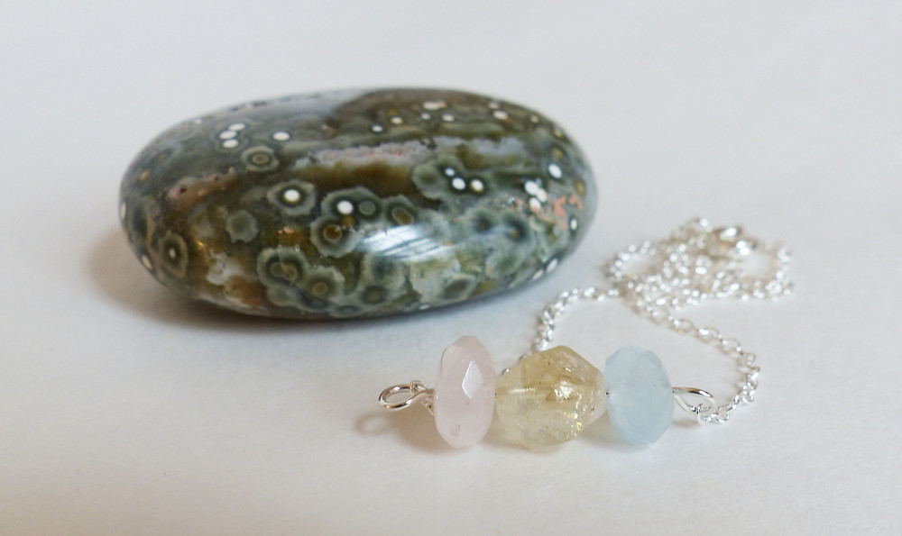 Rose quartz, citrine, and aquamarine necklace by Ocelli Creations