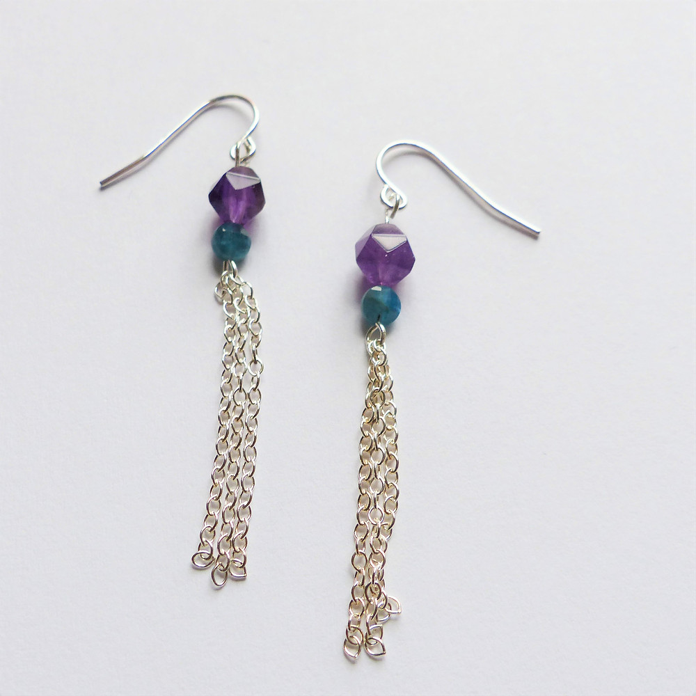 Succulent-inspired earrings (amethyst and blue apatite)