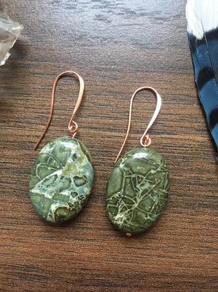 snakeskin jasper copper earrings.JPG