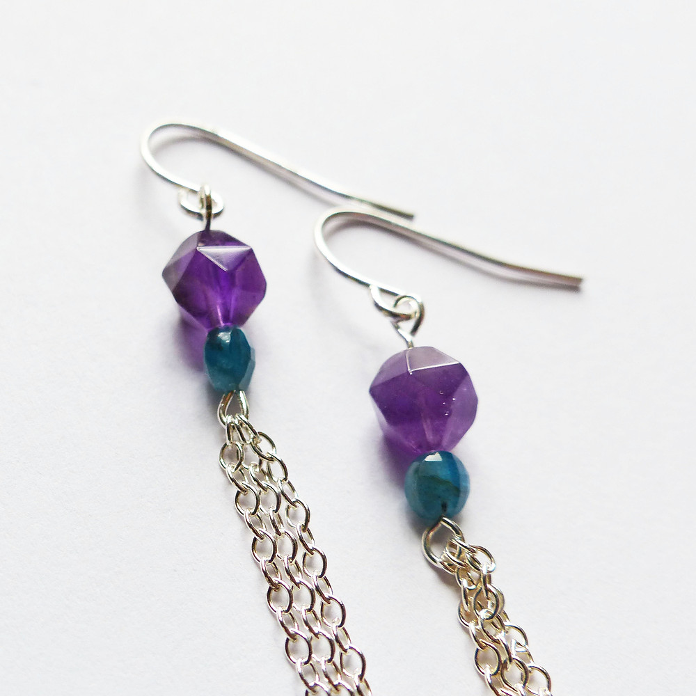 Amethyst and blue apatite earrings -- succulent-inspired