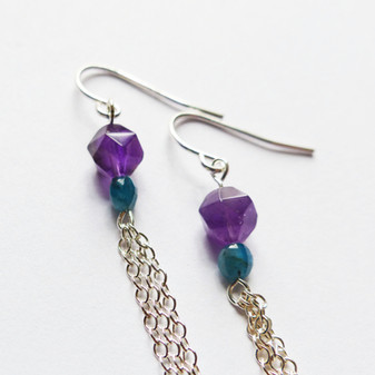 Amethyst and amazonite sterling dangle e