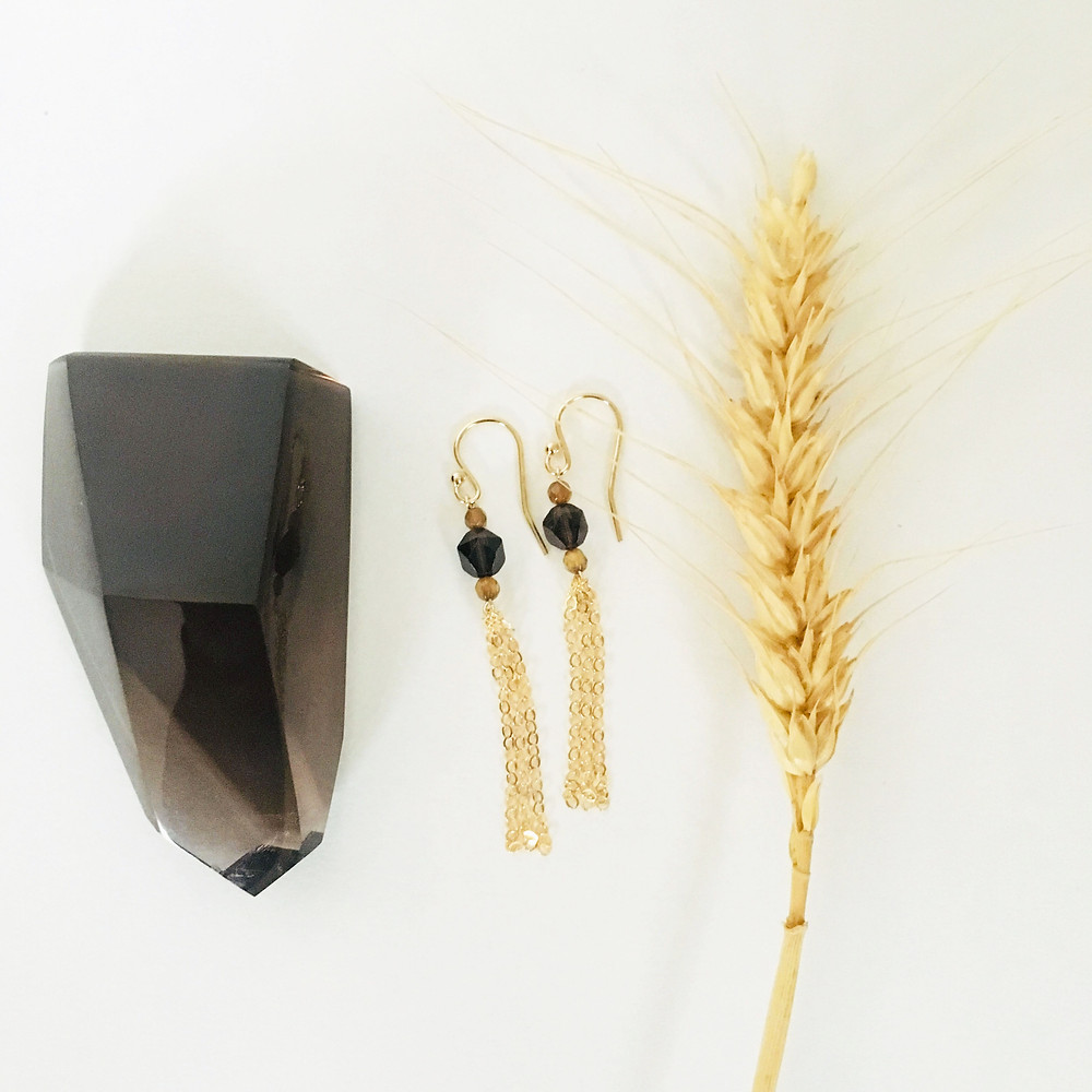 Golden agate and smoky quartz #earthtone earrings inspired by wheat fields #naturescolorpalette