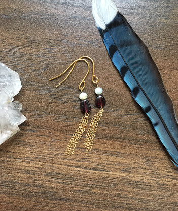 Garnet and pearl gold tassel earrings.JP