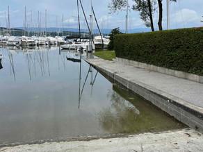 Rampe accessible - baignade à Faoug interdite