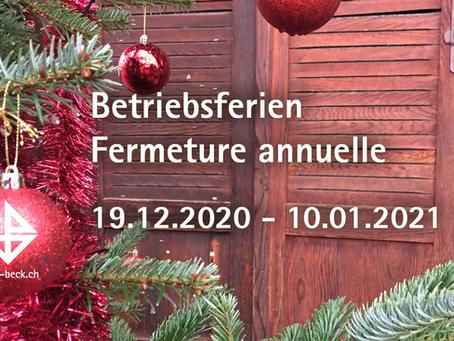 Betriebsferien vom 19. Dezember bis 10. Januar