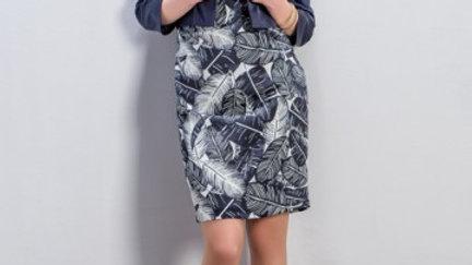 Michaela Louisa Navy Leaf Dress