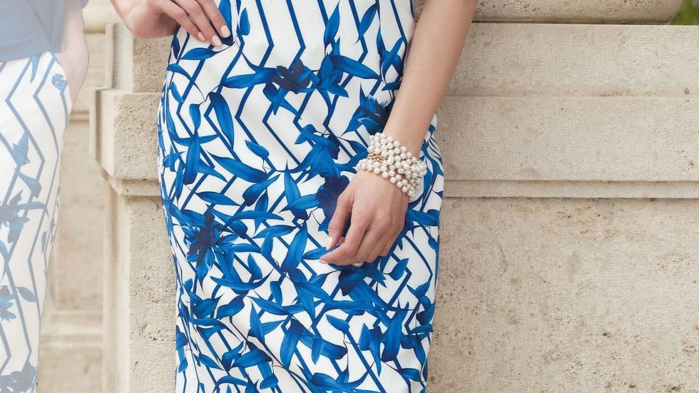 Michaela Louisa Dress in Blue and White