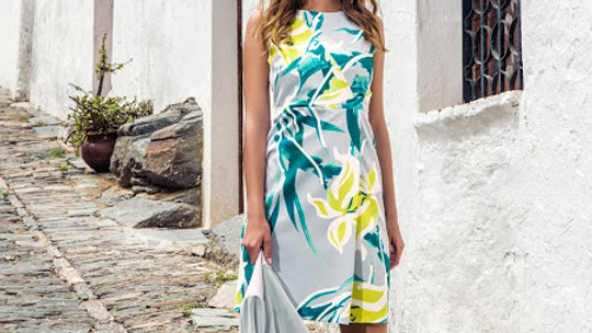 Michaela Louisa Dress in Grey and Lime