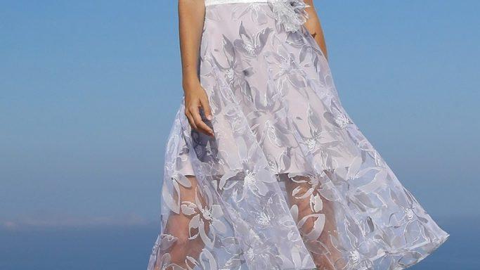 Linea Rafaelli Dress in Silver-Grey and White