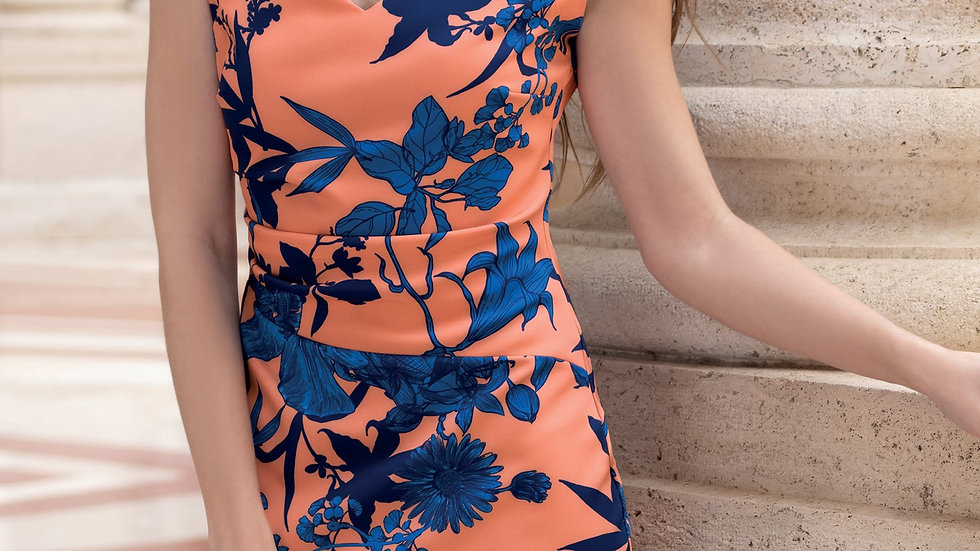 Michaela Louisa Dress in Coral and Royal Blue