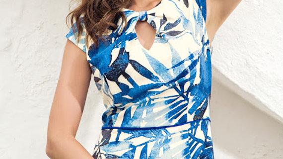 Michaela Louisa Dress in Blue and Cream