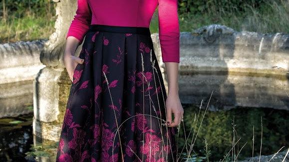 Michaela Louisa Dress in Fuchsia and Navy
