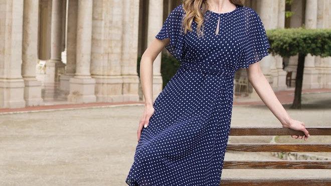 Michaela Louisa Dress in Navy Polka Dots