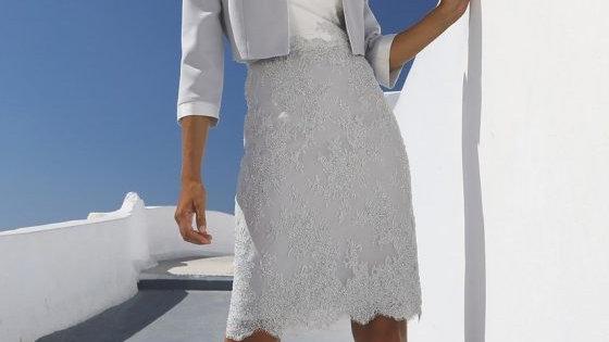Linea Rafaelli Dress and Jacket in Silver-Grey