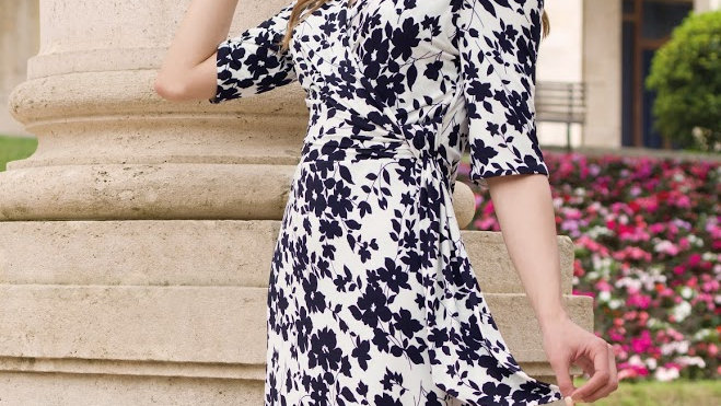 Michaela Louisa Dress in Navy and White