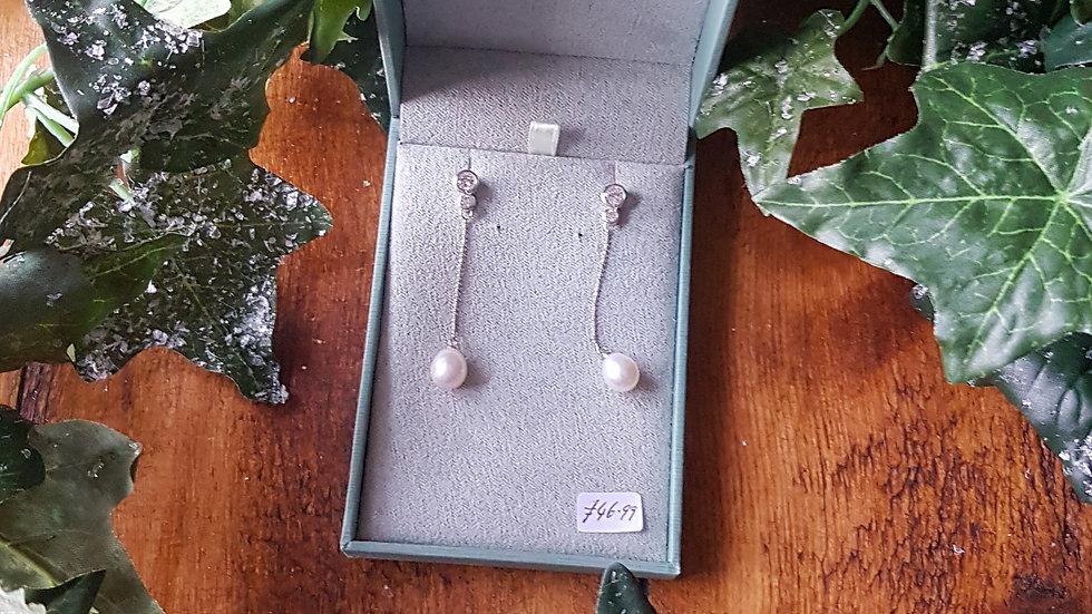 Sterling Silver and fresh water pearl drop earrings