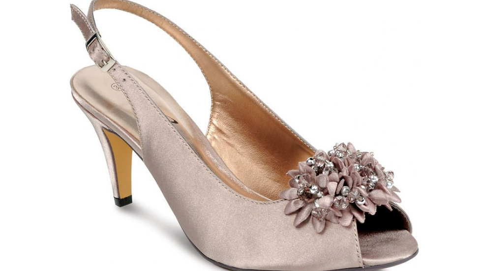 Sabrina Satin Sling-back Shoes in Taupe