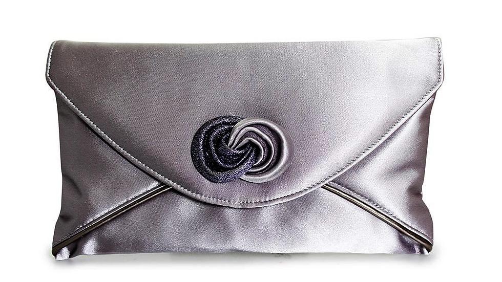 Ripley Clutch Bag in Grey Satin