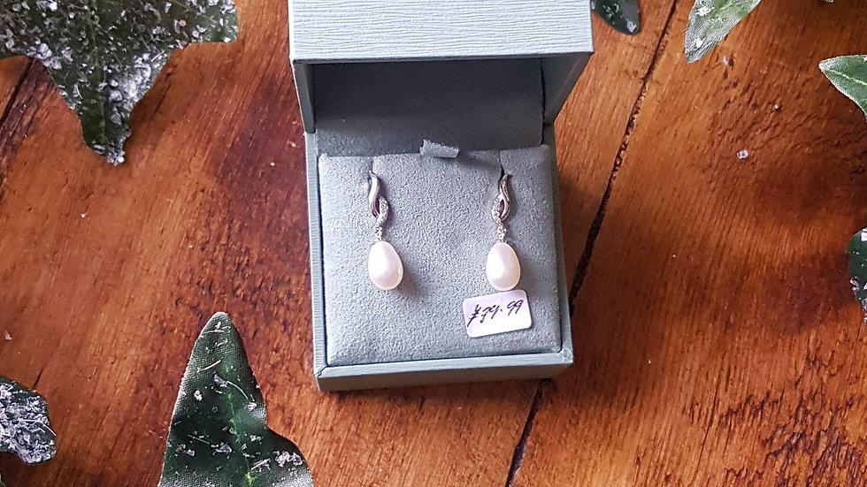 Sterling Silver and fresh water pearl twist drop earrings