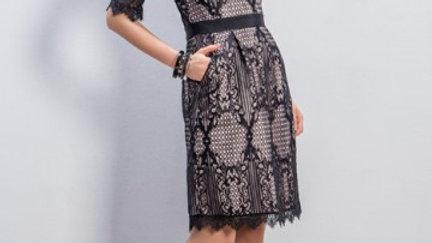 Michaela Louisa Dress in Black Lace