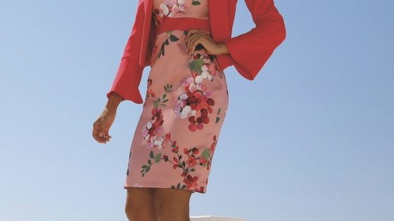 Linea Rafaelli Dress and Jacket in Cherry Pink and Red