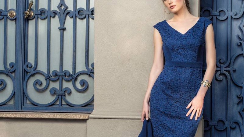 Michaela Louisa Dress in Royal Blue Lace