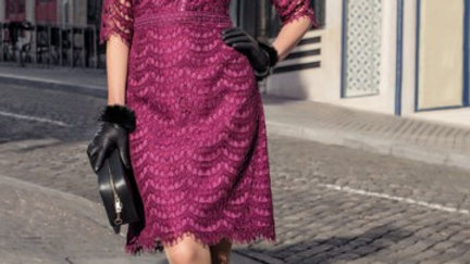 Michaela Louisa Dress in Magenta Lace