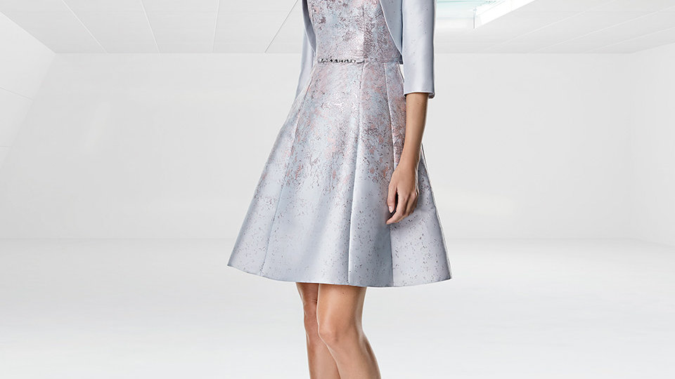 Sonia Pena Dress and Jacket in Grey-blue and Pink