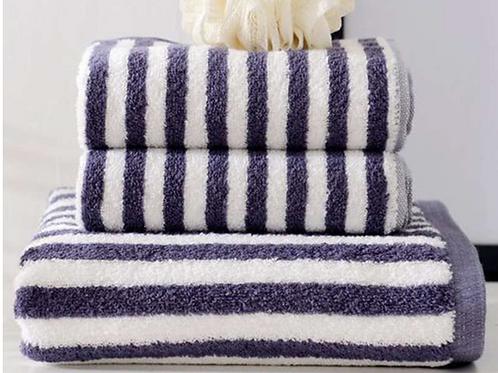 3Pcs / Set Bathroom Towel Set 100% Striped Bath Towel And 2 Face Towels