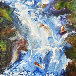 Waterfall encaustic