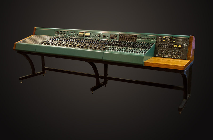 Tree Audio custom 16-channel console and stand built for recording industry legends Richie Podolor and Bill Cooper. Combined, these men have sold a gazillion hit records.  Richie Podolor - Record Producer (Steppenwolf, Three Dog Night, Iron Butterfly, Alice Cooper, etc.,).  Bill Cooper - Recording Engineer (Three Dog Night, Iron Butterfly, John Mayall, etc.,)  About this custom console, written by Tree Audio co-designer/owner, Ian Gardiner: All of the electronics were designed by my partner Steve Firlotte. After Bill and Richie decided to sell American Recording and their Trident A range, they commissioned us to build a console for them. It started out as 16 channel standard Generation I Roots console, but turned into a much larger project.  From left to right - Full TRS patchbay. Jared Stansill of Pro Audio LA designed and wired up the patchbay. Next is the 16 channel Gen I Roots console in Altec green. In the upper left meter bridge is an 8 channel monitor section that dumps into the