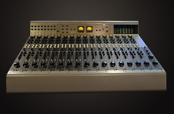 Ray LaMontagne's Tree Audio 16 channel Roots Gen II recording console in a custom color Ray chose. There's an 8 channel monitor on the left meter bridge and eight 500 series slots on the right meter bridge.
