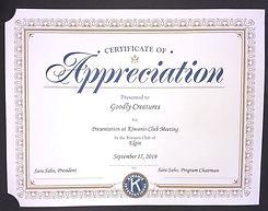 Kiwanis Club Certificate of Appreciation