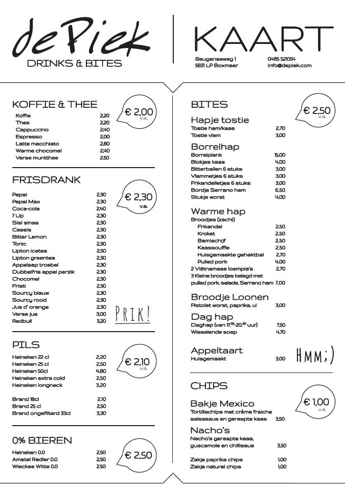 De Piek menukaart