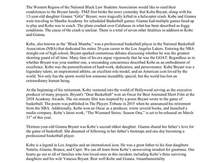 WRBLSA Statement Following the Death of Kobe Bryant and Fellow Helicopter Passengers in California