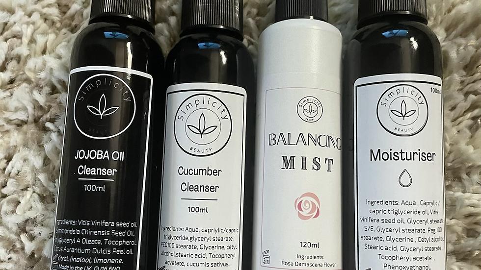 Luxury Double cleansers, toner, moisturiser