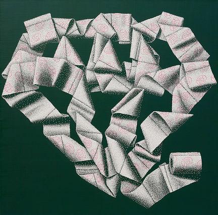 흐르는 생각의 가벼움-다이아몬드    97X97 acrylic on canvas 2013.JPG