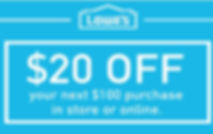 Image of Lowe's $20 off $100 purchase in store or online