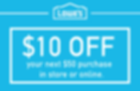 Image of Lowe's $10 off $50 purchase in store or online
