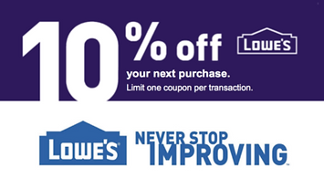 Image of Lowe's 10% off entire purchase in store or online