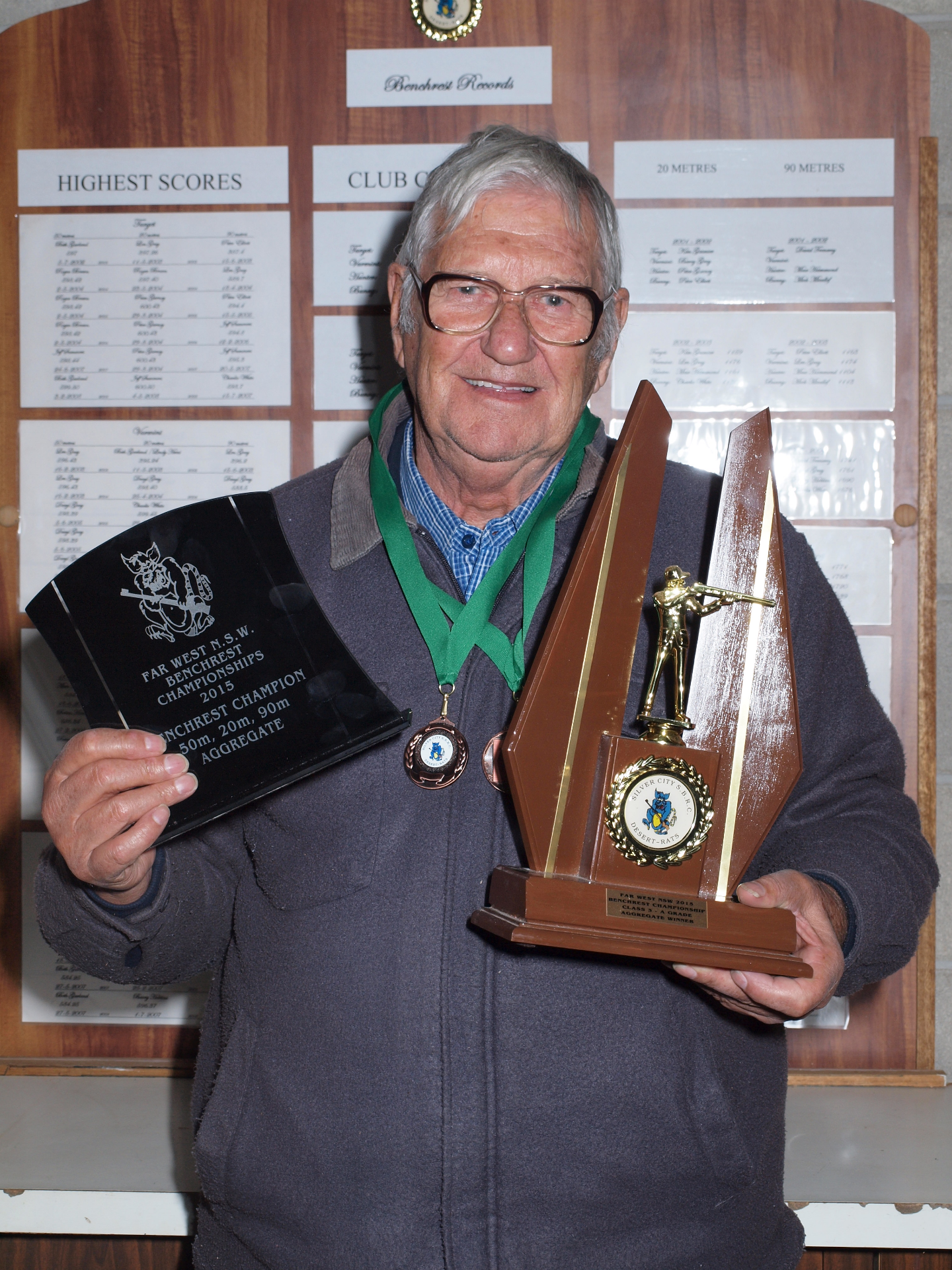Far West NSW Benchrest Champion 2015 Ken Wilson from Mildura SBRC Photo Beth Gar