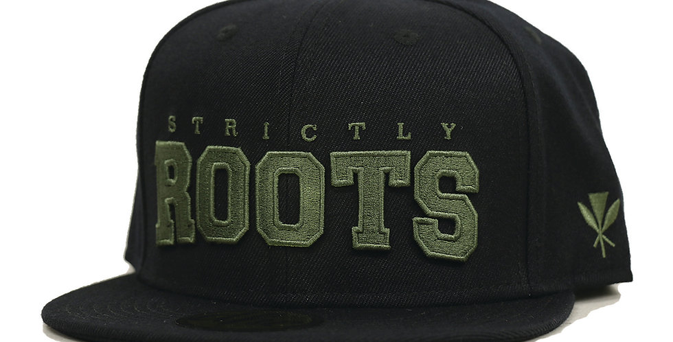 STRICTLY ROOTS SNAP BACK BLACK/MILITARY GREEN