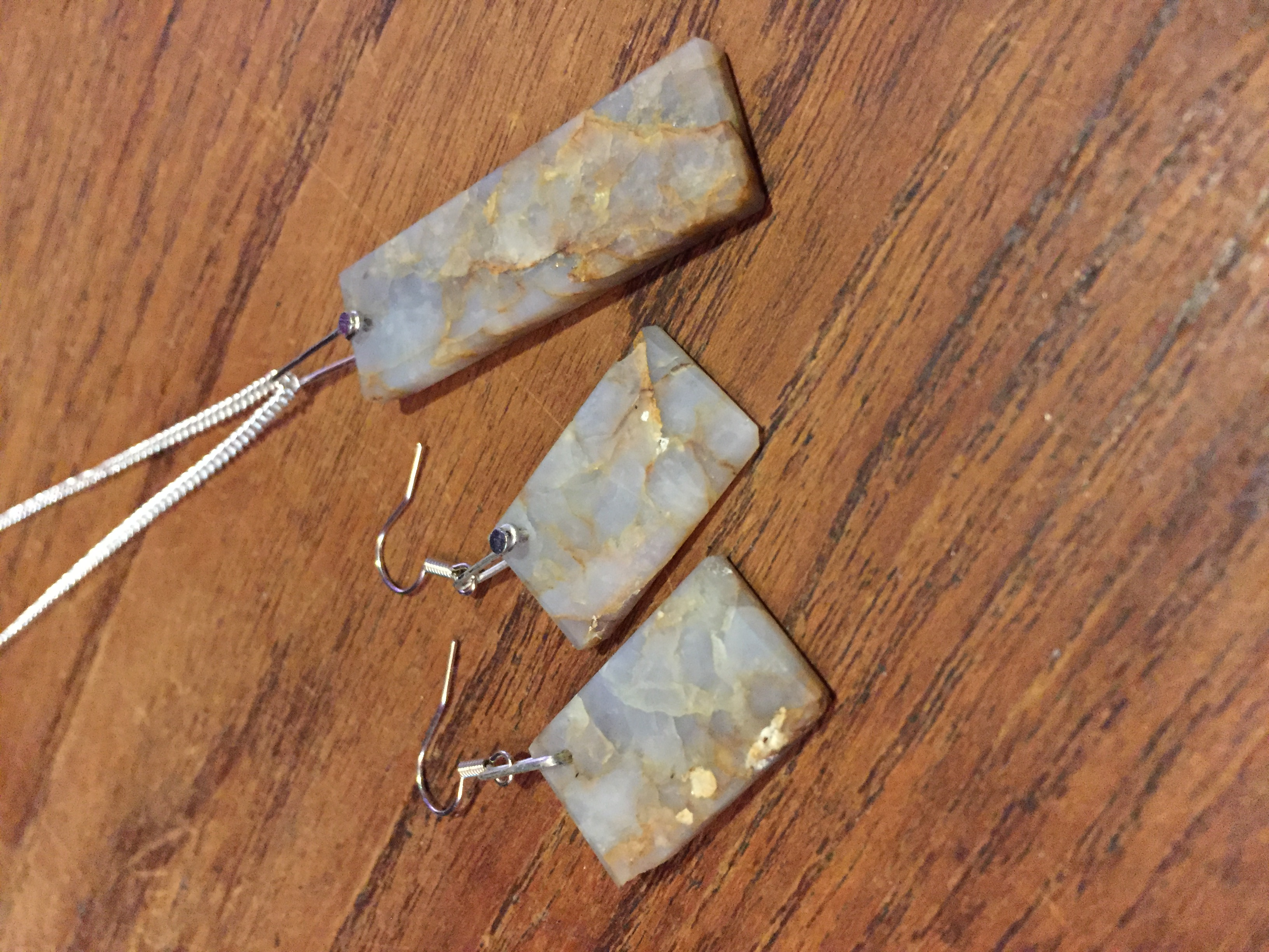 Quartz Pendant Earring Set