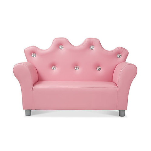 Child's Crown Sofa - Pink Faux Leather