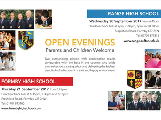 Open evenings for Formby High School and Range High School
