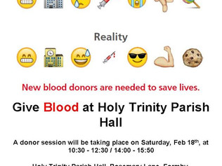 Give Blood Saturday 18th February in Formby to save a life