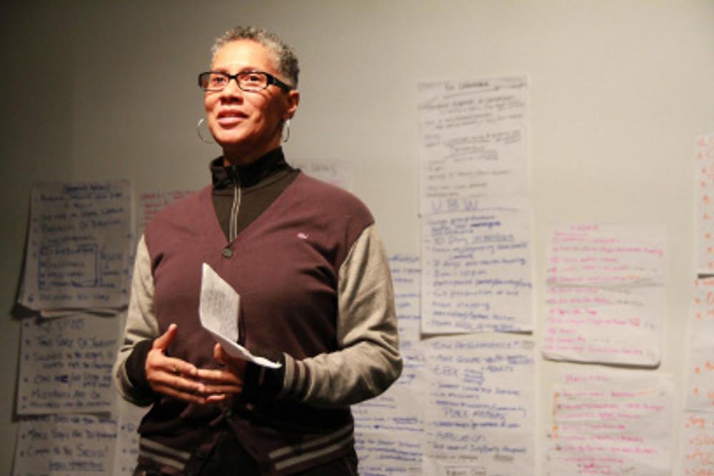 Sharon Bridgforth at the Pilot Institute (photo by Luminous Concepts, at Intermedia Arts, 2012.)