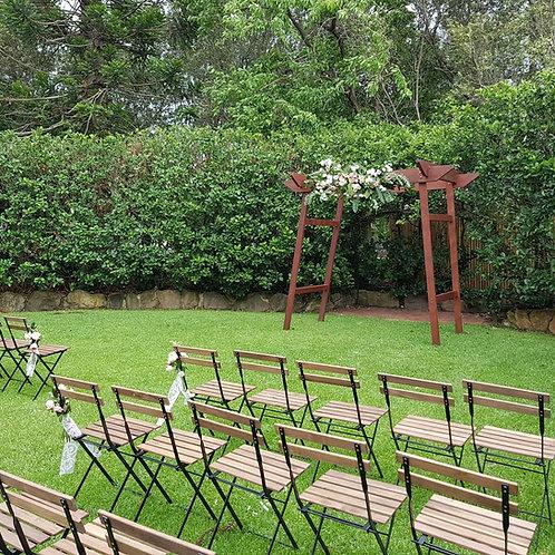 Slat back timber chairs