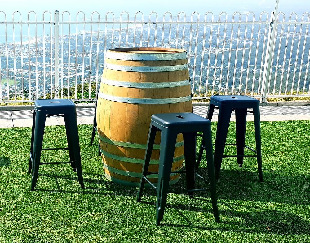wine barrel bar stools cocktail seating hire