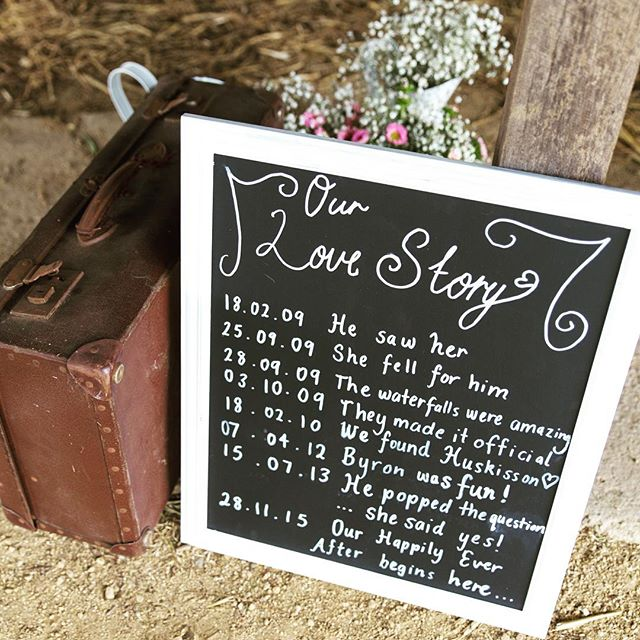 Custom love story chalk boards #vintageeventshire #sydney #wedding #engagement #southernhighlands #c